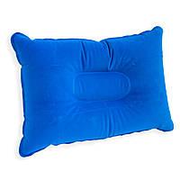 Синя подушка для подорожей надувна 34х24 см, подушка надувна туристична, дорожня, для кемпінгу