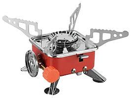 Туристична газова плита Portable Card Type Stove K-202 Червона, портативна міні піч   мини газовая плита