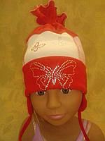 Шапочка трикотажная с бабочкой на девочку, фото 1