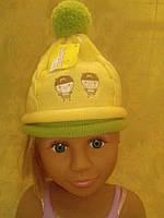 Шапка желтая, вязаная на девочку, фото 1