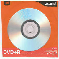 Диск DVD+R ACME 4.7Gb 16x Paper sleeve 1шт (4770070855898 поштучно)