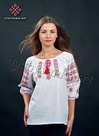Стильная вышитая сорочка с рукавом 3/4 из хлопка (0039), фото 1