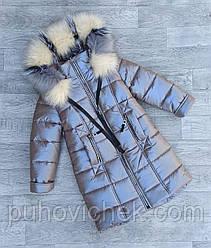 Теплая детская куртка зимняя для девочки размеры 116-152