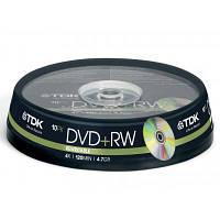 Диск DVD+RW TDK 4.7GB 4x Cakebox 10шт (t19524)