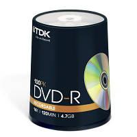 Диск DVD-R TDK 4.7GB 16X Cakebox 100шт Printable (t19915)