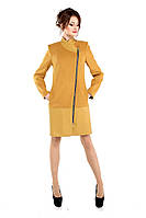 Женское демисезонное кашемировое пальто, желтый