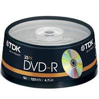 Диск DVD-R TDK 4.7GB 16X Cakebox 25шт (t19416)