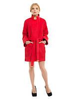 Женское кашемировое пальто весна осень, коралл