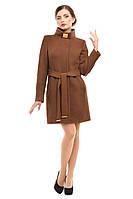 Кашемировое пальто женское демисезонное, коричневый