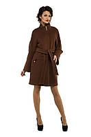 Женское кашемировое пальто демисезонное, коричневый