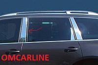 Накладки на дверные стойки на Фольцваген Тоурег с 2010> (нерж) OMCARLINE.