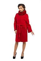 Пальто зимнее кашемировое с натуральным мехом, красный