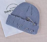 Шапка мужская / шапка Бини /шапка женская/ Шапка Кусто / шапка докера / серая шапка с кольцами