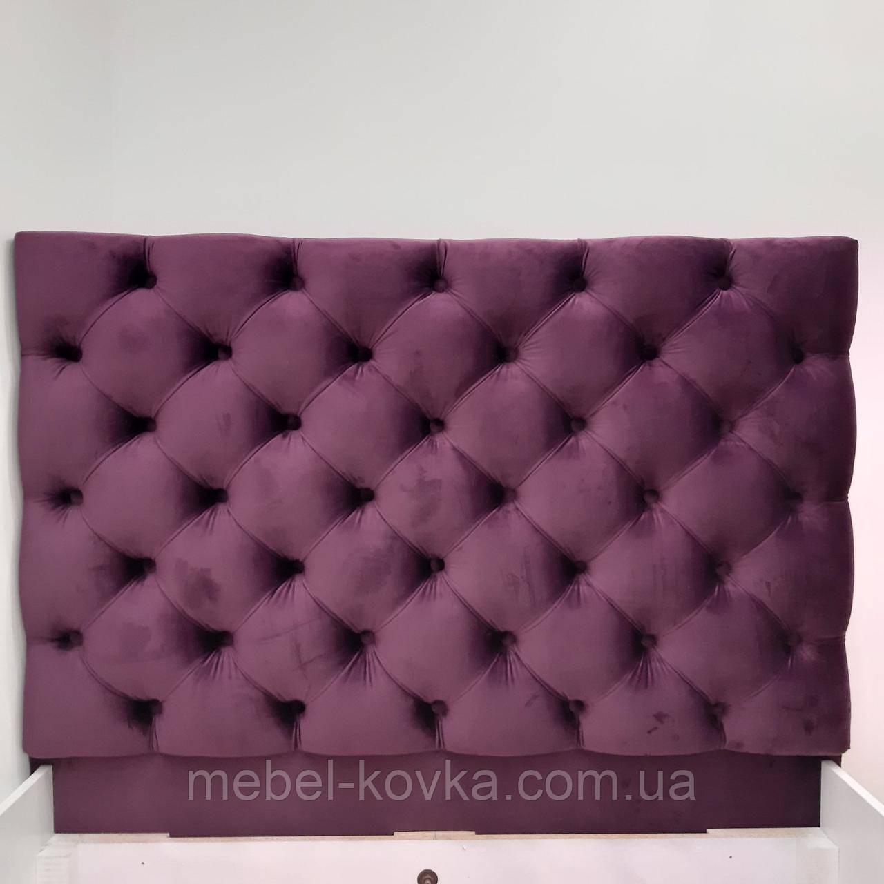 Изголовье для кровати с каретной стяжкой 128 на 120 см толщина поролона 7 см велюр