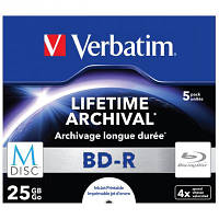 Диск BD-R Verbatim DL 50Gb 6x Jewel Case 5шт M-Disc Archival Media (43823)
