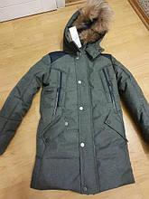 """Зимова куртка """"Макс"""" для хлопчика, з хутром, зелена"""