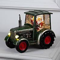 """Новогодний Светильник """"Дед мороз в тракторе"""" 29см."""