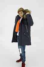 """Зимова куртка """"Макс"""" для хлопчика, з хутром, синя"""