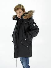 """Зимова куртка """"Макс"""" для хлопчика, з хутром, темно-сіра"""