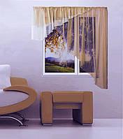 """Кухонная штора """"Баку"""" 5 м х 1,75, белый, кофейный. Левая или правая"""
