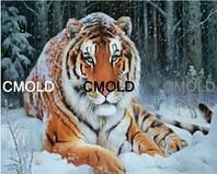 """Алмазная вышивка """"Тигр в зимнем лесу"""""""