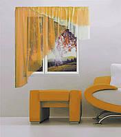 """Кухонная штора """"Баку"""" 5 м х 1,75, белый, золотисто-оранжевый, рыжий. Левая или правая"""