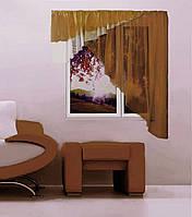 """Кухонная штора """"Баку"""" 5 м х 1,75, белый, коричневый. Левая или правая"""