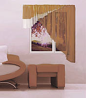 """Кухонная штора """"Баку"""" 5 м х 1,75, белый, светло-коричневый. Левая или правая"""