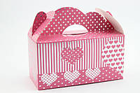 """Подарочная коробочка """"Сердечки"""" 18х8,5х9,5см. розовая"""