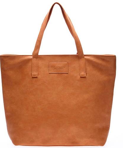 Стильная женская сумка из искусственной кожи POOLPARTY pool88-beige-PU