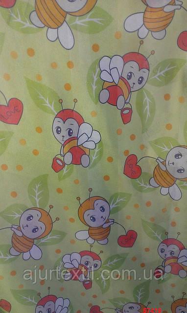 """Тюль детская """"Пчелка"""" зеленая"""
