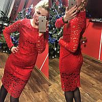 Элегантное вечернее женское платье с нежным гипюром, красный цвет