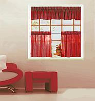 Комплект штор- фирамки и ламбрекен (0,5*1,40-2 шт, 2,80*0.35) красный