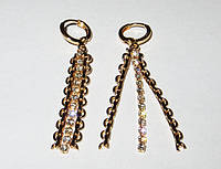 Серьги-подвески ХР, нитка камней, позолота