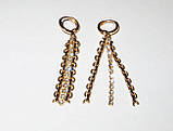 Серьги-подвески ХР, нитка камней, позолота  , фото 2