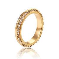 Обручальное кольцо дорожка камней позолота 17.5 размер , фото 1