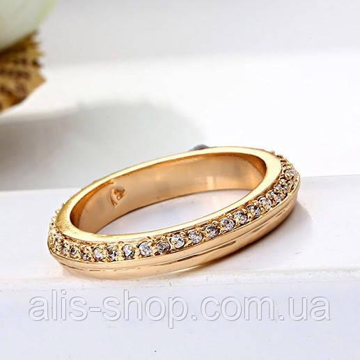 Обручальное кольцо дорожка камней позолота 17.5 размер