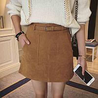 Короткая замшевая  юбка  с карманами