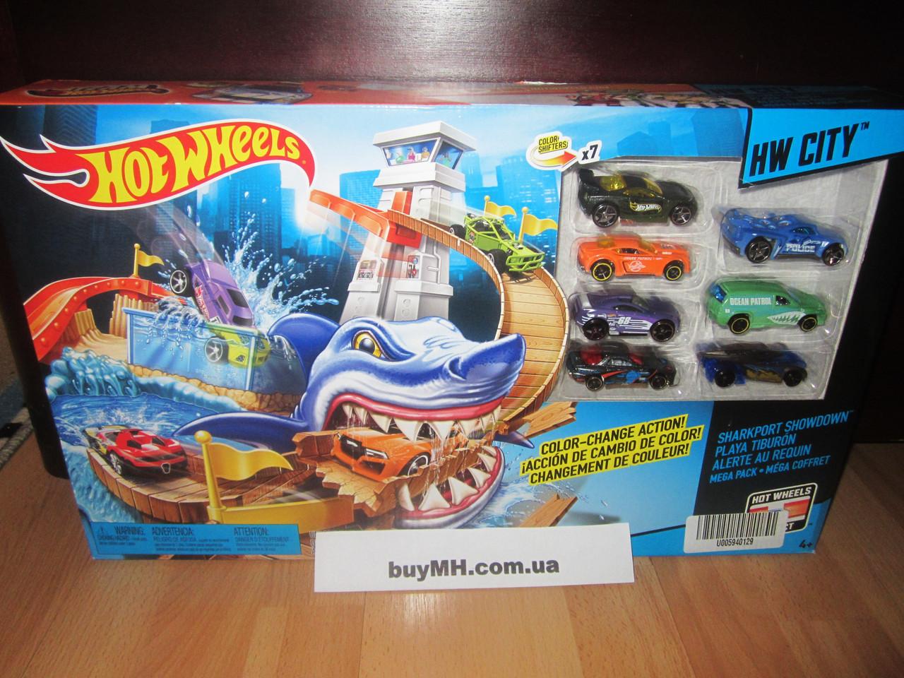 Трек Хот Вилс порт акула и 7 машинок Измени цвет Hot ...