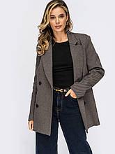 Удлинённый двубортный пиджак приталенного силуэта серый 50