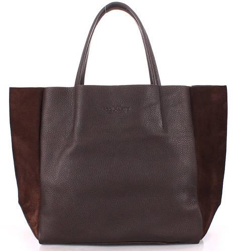 8aa6e87855e9 Женская кожаная сумка POOLPARTY soho-brown-velour