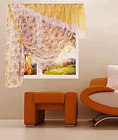 """Кухонная штора """"Фиона"""" на две стороны. 4 м. белый, шоколад, золото"""