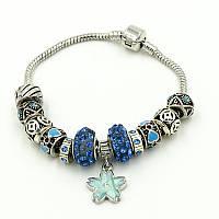 """Браслет в стиле Pandora (пандора) """"Цветок голубой камень"""" P031"""