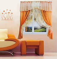 """Кухонная штора """"Номи"""" на две стороны. 3 м. белый с оранжевым"""