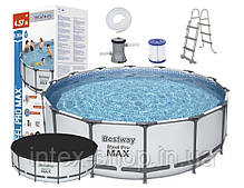 Каркасный бассейн Bestway 56438 (457 x 122 см) (3 028 л/ч, лестница, тент), фото 3