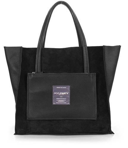 Повседневная женская кожаная сумка POOLPARTY soho-insideout-black-velour