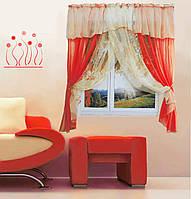 """Кухонная штора """"Номи"""" на две стороны. 3 м. белый с красным"""