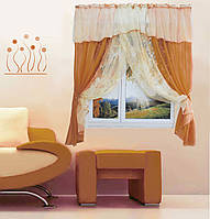 """Кухонная штора """"Номи"""" на две стороны. 3 м. белый со светло-коричневым"""