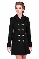 Элегантное молодежное пальто в чёрном цвете двубортное Диона