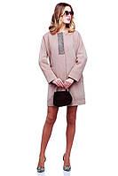 Оригинальное кашемировое пальто без воротника с роскошными камнями на горловине и сзади